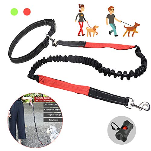 Arkmiido Jogging Hundeleine, Verstellbarem Hüftgurt & Dehnbare Leine,Jogging Hundeleine für große und mittelgroße Hunde. Elastische und reflektierende Laufleine im Set(Rot )