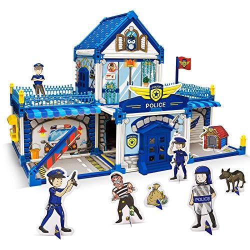 3D Comisaría de policía Puzzle DIY Rompecabezas Ensamblaje de Graffiti Juguetes para niños, Regalos de cumpleaños y Navidad para niños, 170 pcs 12 lápices de Colores