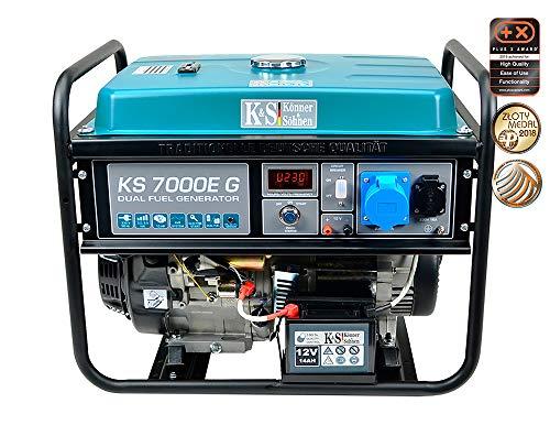 Könner & Söhnen KS 7000E G Benzin-LPG Hybrid Stromerzeuger, 4-Takt, Kupfer, 5500 Watt, 1x16A, 1x32A (230V), Generator, E-Start, Automatischer Spannungsregler, Anzeige, für Haus, Garage oder Werkstatt