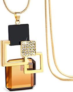LUFA Collana della catena del maglione delle ragazze delle donne quadrati di cristallo Collana