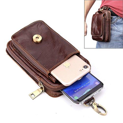 Accesorios para teléfonos móviles 5,5 pulgadas y debajo de la textura de cuero de cuero de cuero genuino de cuero genuino de cuero vertical bolsa de la cintura con el agujero de la cinta para Sony, Hu
