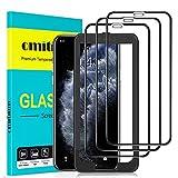 omitium Protector Pantalla para iPhone 11 Pro, [3 Piezas] Cobertura máxima iPhone XS/ iPhone X Cristal Templado [Marco Instalación Fácil] Sin Burbujas Dureza 9H Vidrio Templado iPhone 11 Pro -5,8'