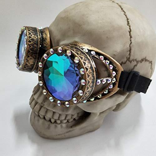 aoory Gafas Steampunk Caleidoscopio Gafas de sol de moda Cool Retro Gafas de sol para Cosplay Amarillo