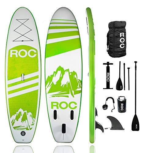 Roc Inflatable Stand Up Paddle Board with Premium sup Accessories & Backpack, Non-Slip Deck, Waterproof Bag, Leash, Paddle and Hand Pump. (Green)