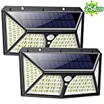 Solar Lights Outdoor 254 LED,【Automatic Illumination】Feob Solar Motion Sensor Security Lights [2500LM-2500mAh] - 3 Optional Modes, IP65 Waterproof Solar Lamp Solar Powered Wall Light (2 Pack) 2