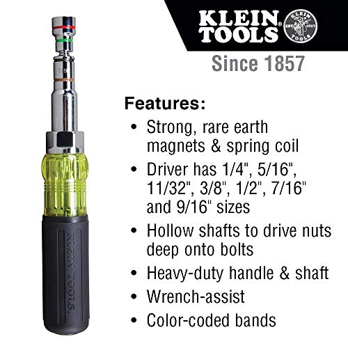 Klein Tools 32807MAG 7-in-1 Nut Driver, Magnetic Driver with SAE Hex Nut Sizes and Spring Coil Bits, Heavy-Duty Handle for Added Torque , Black