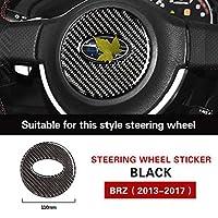 車のインテリア装飾カーボンファイバーステアリングホイールトリムカーステッカーカバースタイリング、スバルBRZ 2013-2017アクセサリー