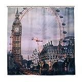 BIGJOKE Duschvorhang, London Eye, schimmelresistent, wasserdicht, Polyester, 12 Haken, 182,9 x 182,9 cm, Heimdekoration