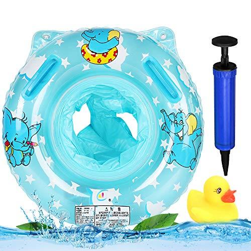 MHwan Salvagente Neonato, Anello di Nuoto Bambini, Cartone Elefante Galleggiante per Piscina per Bambini Sedile ad Anello con Maniglie di Sicurezza per Nuoto Pompa Manuale Duck Toy, 3 Pezzi