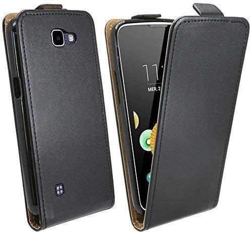 ENERGMiX Handytasche Flip Style kompatibel mit LG K3 (K100) in Schwarz Klapptasche Hülle Tasche Hülle Etui Schale Flip-Cover