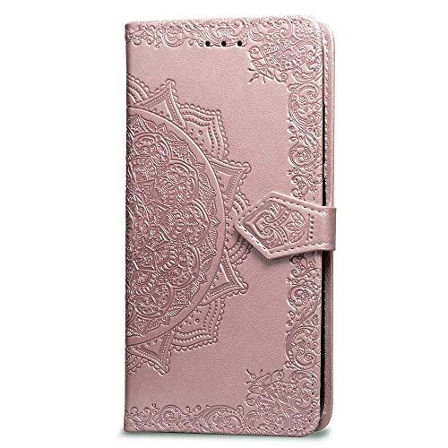 Bravoday Coque pour Samsung Galaxy A6 Plus, Protection Étui Housse PU Cuir Portefeuille Bookstyle pour Galaxy A6 Plus, avec Carte Slot et Stand Support, Or Rose