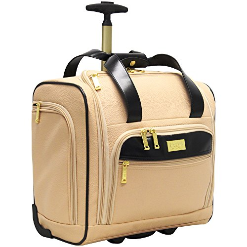 Nicole Miller Underseat Luggage Collection - Small Lightweight 15 Inch Under Seat Bag - Briefcase for Women - Carry On Suitcase with 2- Rolling Spinner Wheels (Sharon Nude)