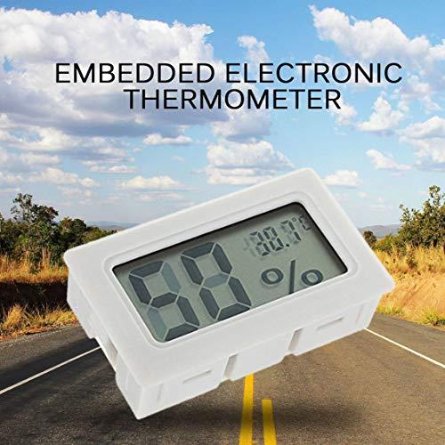 Elektronisches digitales LCD-Hygrometer, integrierter Feuchtigkeitsmesser, für Reptilien, Temperaturanzeige, Thermometer – Weiß
