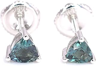 Natural Alexandrite Trillion Cut Stud Earrings Color change from Blue Greet to Purple14K White Gold Screw Back Post NEW