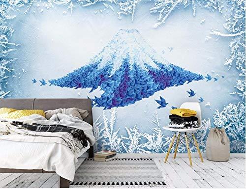 BHXIAOBAOZI eigen 4D muurschildering groot behang, abstracte blauwe bergen, moderne Hd zijde muurschildering poster afbeelding TV sofa achtergrond muur decoratie voor woonkamer 380cm(W)×240cm(H)|12.46×7.87 ft