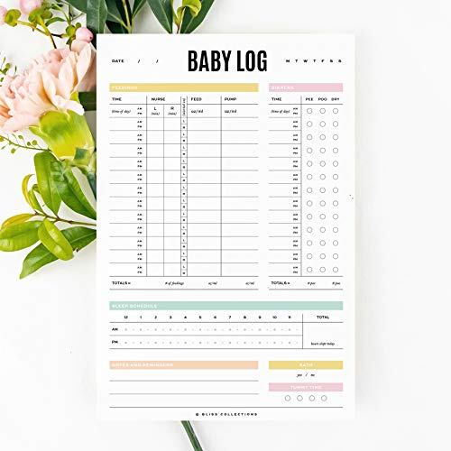 Bliss Collections Baby Log Notebook Journal for New Moms, Newborns, Infants - Easily Track Baby's Breastfeeding, Nursing, Feeding, Sleep and Diaper Schedule - 6x9 Record Tracker Note Pad, 50 Sheets