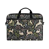 Laptop Sleeve Case,Christmas Deer Bunny Rabbit Floral 14-14.5 inch Briefcase Messenger Notebook Computer Bag