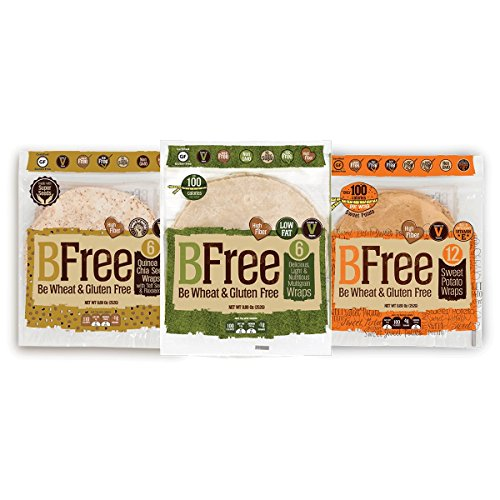 Bfree Gluten Free Wrap Tortillas Variety Pack 8' Sweet Potato, Multigrain, Quinoa, Wraps Variety