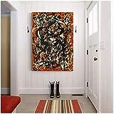 Tbdiberc Citon Lienzo Pintura Al Óleo Jackson Pollock 《Forma Libre》 Póster De Arte Cuadro Moderno Arte De Pared Decoración Hogar Sala De Estar Decoración-50X70Cmx1 Sin Marco