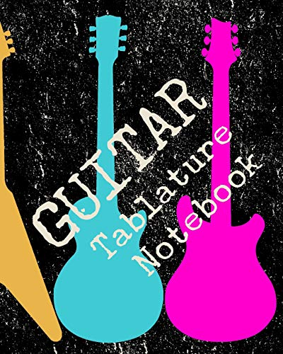 Guitar Tablature Notebook: Blank Tab Music Paper 6 line staves and 5 blank chord boxes on top of each page 110 pages