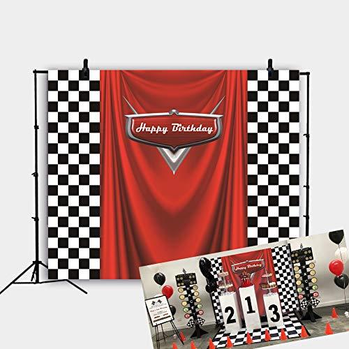 Daniu Monster Racing Competición Campeón Telón de Fondo Rojo Banner Victoria Fondo Telón de Fondo Fiesta de cumpleaños Fotografía Decoración de Fondo Suministros Studio Party Stand 7x5FT vinly