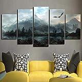 LPHMMD Dekorative Malerei Leinwandbilder Wandkunst Wohnkultur 5 Stücke Dragon Skyrim Gemälde Modulare Drucke Poster Wohnzimmer Rahmen