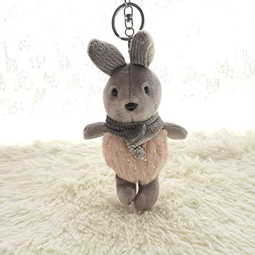 yfkjh Plüsch Süßigkeiten Kaninchen Schlüsselanhänger, Cartoon niedlich, Haarball Kaninchen, Puppe Anhänger, Tasche Anhänger, Schlüsselanhänger 19cm Graues Pulver