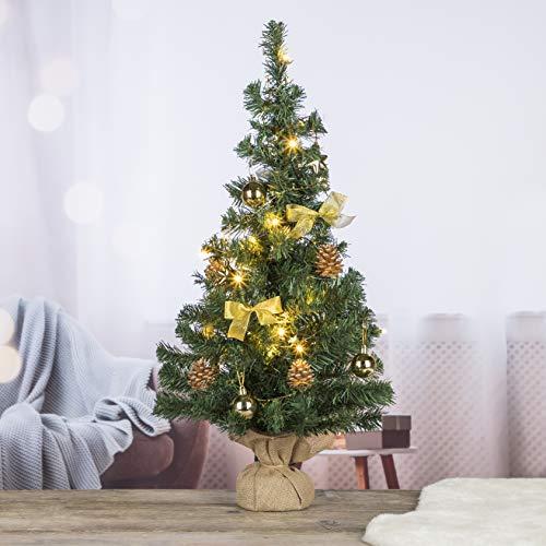 Künstlicher Weihnachtsbaum 75 cm Tannenbaum Christbaum Dekobaum beleuchtet und dekoriert