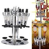 6 Bottle Liquor Dispenser, Revolving Liquor Mix Dispenser Holder Alcohol Beverage Cocktail Shot Dispenser Wine Holder with Rotating Stand for Home Bar Party