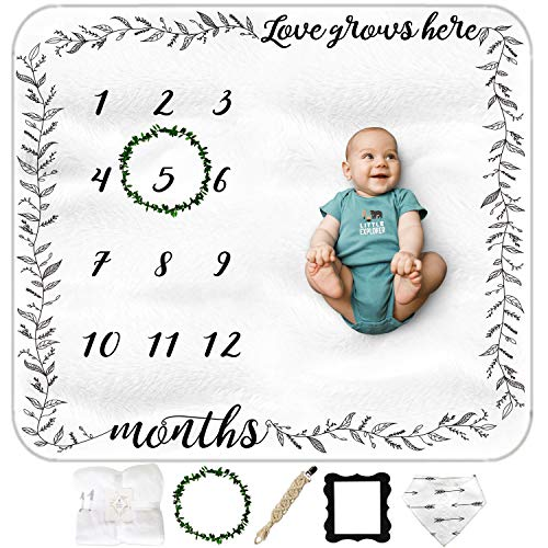 Baby Monthly Milestone Blanket Boy or Girl - Unisex Baby Growth Chart Blanket, to Track Milestones with Photos | Baby Age Blanket, with Macrame Pacifier Clip, Bib and 2 Frames