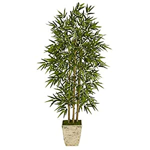 Unknown1 65″ Bamboo Artificial Tree in Country White Planter Green