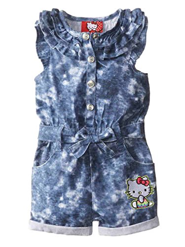Hello Kitty Infant Girls Blue Denim Romper Outfit 1 Piece Jumper 6-9m