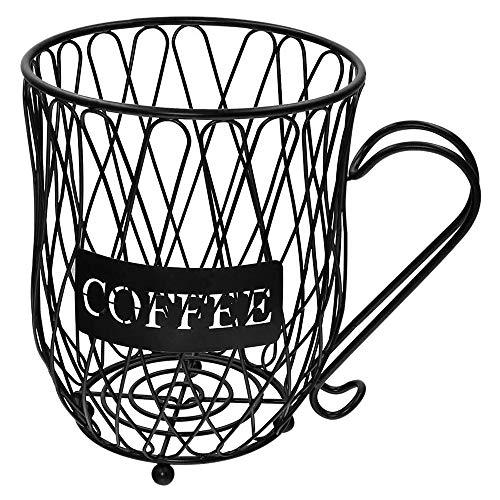 Fransande Soporte para cápsulas de café, organizador de tazas, soporte para cápsulas de café y expreso, cesta de almacenamiento para tazas de café