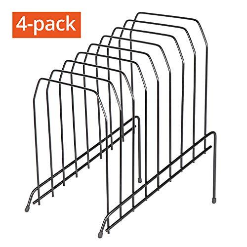 DESIGNA 4-Pack Large Metal Incline Sorter Rack File Folder Holder for Desk Home Office Organizer, 8 Compartment, Black