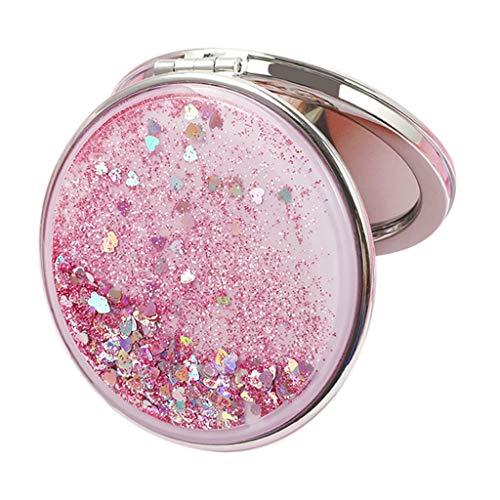 F Fityle Taschenspiegel Glitzer Schminkspiegel Reisespiegel Doppelseitig mit 2 X Vergrößerung - Pink, Rund