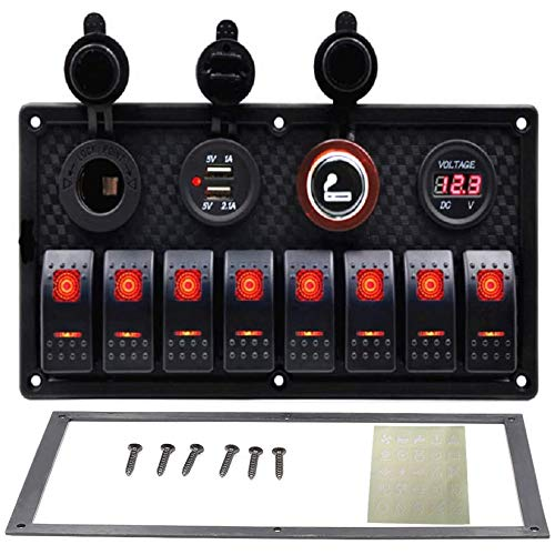 ACAMPTAR 8 Gang Rocker Switch Panel Interruptor AutomáTico Sobrecarga VoltíMetro Protegido 12V 24V Puerto del Cargador USB RV Coche Barco Marina