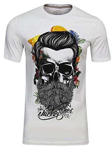 JACK & JONES Herren T-Shirt Festival Flower Support Tee Crew Neck Bart Skull Totenkopf Schädel Print Sonnenbrille,(Cloud Dancer,XXL)