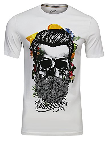 Jack & Jones - Camiseta de manga corta para hombre, de cuello redondo, diseño de estampado de calavera con flores Color blanco (Cloud Dancer Fit: Slim). L