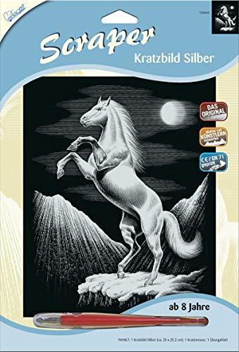 MAMMUT 136043 - Kratzbild, Motiv Pferd, silber, glänzend, Komplettset mit Kratzmesser und Übungsblatt, Scraper, Scratch, Kritzel, Kratzset für Kinder ab 8 Jahre