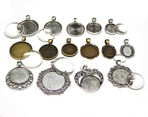 Perlin 15 Verschiedene Modelle Metall Anhänger Set Fassungen mit Glas Cabochon, Bastelset, Rund Oval, 30/25/20/18/16/12mm Fassung