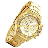 Gold Hip-Hop Watch for Men [Upgraded] Japan Quartz 30M Waterproof Dress Casual Watch for Birthday Halloween Costume Party