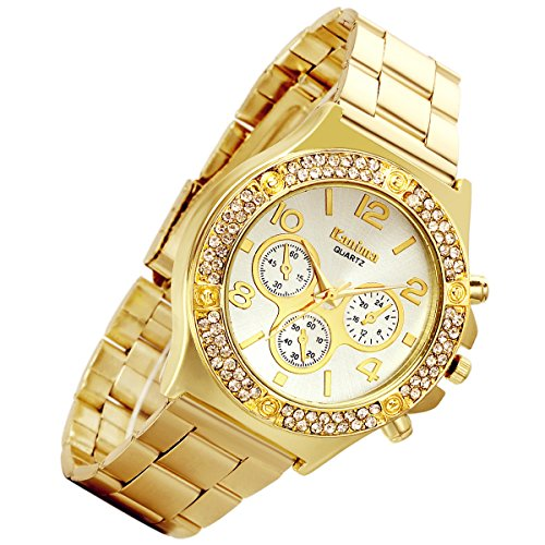 Men's Gold Costume Hip Hop Bling Double Dual Rhinestone Bezel [Upgraded] Japan Quartz 30M Waterproof Dress Casual Watch for Birthday Party