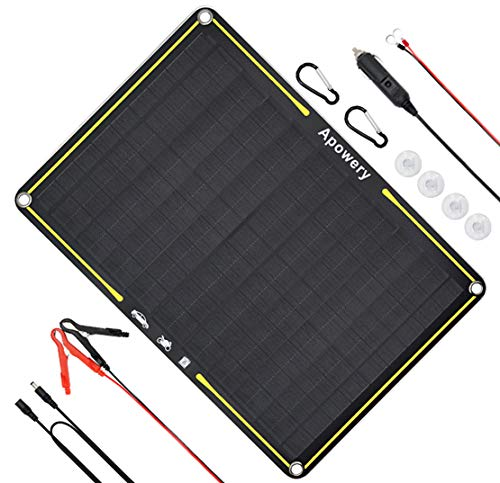 Apowery 12 Volt 10 Watt Solar Car Battery Charger & Maintainer, Solar Panel Trickle Charger, with Alligator Clip& Cigarette Lighter PlugAdapter for Car, Boat, Automotive, Motorcycle, RV