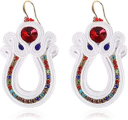 Gymqian Drop Earrings Women Ethnic Style Leather Rhinestone Hanging Earrings Jewelry Female Soutache Handmade Drop Earring Party Gifts Decorations