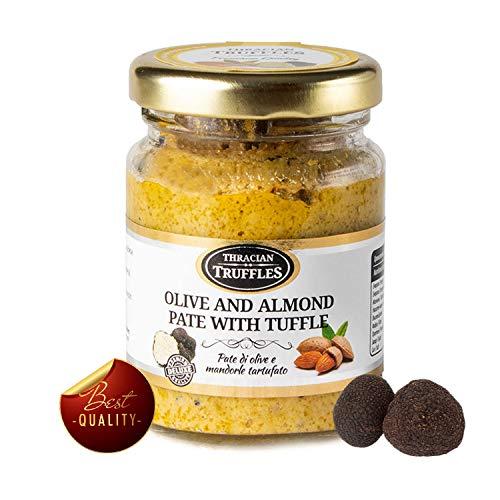 Grüne Oliven und Mandeln mit echtem schwarze trüffel Tuber Aestivum, die Delikatesse für Feinschmecker, ideal für Fleisch, gegrilltes Brot, Omeletts, Pasta, Risotto, Sushi (x 1)