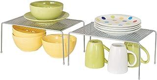 mDesign Juego de 2 estantes de cocina – Soportes para platos individuales de metal – Pequeños organizadores de armarios pa...