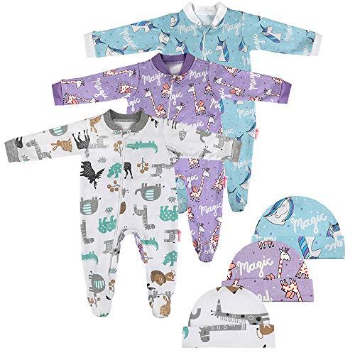 Lictin 6 Piezas Pijama para Bebé- Mameluco de Algodón con Cremallera con Puntos de Pegamento Antideslizantes para Pies, Pintura de Animal para Bebes (3-6 Meses)