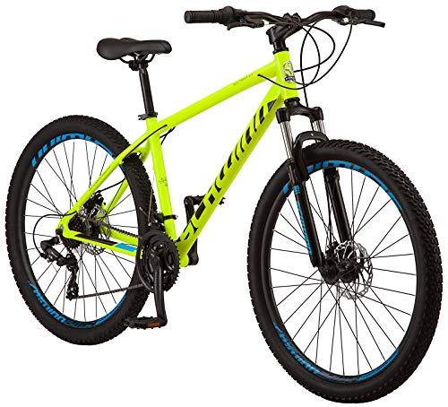 Schwinn High Timber ALX Youth / Adult 산악 자전거, 알루미늄 프레임 및 디스크 브레이크, 27.5 인치 휠, 21 단, 노란색