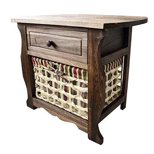 Casa & Mas Bijzettafel van natuurlijk hout met lade en mand. Ideaal voor slaapkamer, ontvangst, woonkamer. Klassiek design, 50 x 42 x 32 cm.
