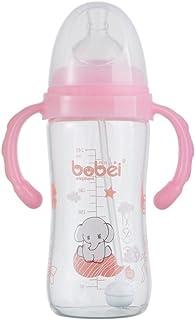 邦贝小象 宝宝婴儿奶瓶玻璃宽口圆弧 多色玻璃奶瓶150ml 240ml防胀气玻璃奶瓶新生儿 (150毫升, 粉色)